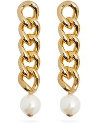 Rosantica Canasta Pearl-embellished Curb-chain Drop Earrings - Metallic