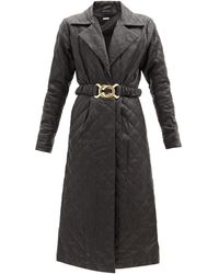 Dodo Bar Or サリー キルティングレザーシャツドレス - ブラック