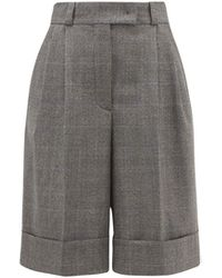 Miu Miu Pleated Wide-leg Houndstooth Shorts - Brown