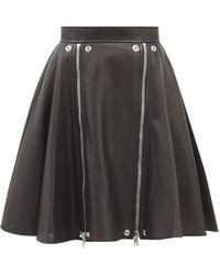 Alexander McQueen ファスナー レザースカート - ブラック