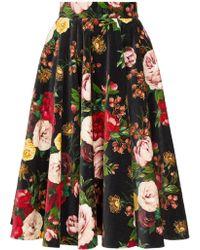 Dolce & Gabbana Rose Print Velvet Midi Skirt - Black