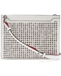 Christian Louboutin - Skypouch Spike Embellished Leather Clutch - Lyst