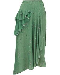Preen Line Electra Ruffled Floral-print Crepe Wrap Skirt - Green