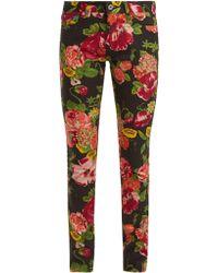 Junya Watanabe - Floral Print Slim Fit Jeans - Lyst