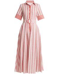 Gül Hürgel - Belted Striped Linen Blend Dress - Lyst