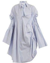 Junya Watanabe - Asymmetric Pintucked Cotton Shirtdress - Lyst