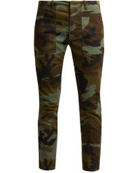 Nili Lotan - Jenna Camouflage-print Cotton-blend Trousers - Lyst