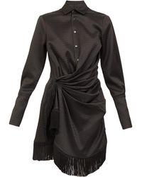 The Attico Robe-chemise courte en satin froncé à franges - Noir
