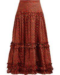 LaDoubleJ Salsa Geometric Print Tiered Cotton Midi Skirt