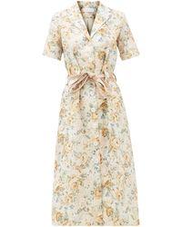 Ephemera - Robe-chemise en lin à imprimé floral - Lyst