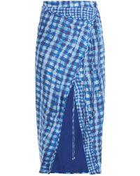 Altuzarra Cicero Gingham Silk Crepe De Chine Pencil Skirt - Blue