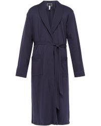 Hanro Night & Day Cotton Robe - Blue