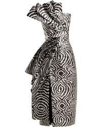 Halpern - Metallic Zebra Bustier Midi Dress - Lyst