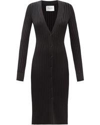 Galvan London Rhea Rib-knitted Cardigan Dress - Black