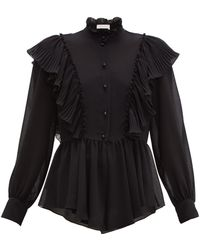 7baaef2e355b75 See By Chloé - Ruffled Collar Georgette Blouse - Lyst