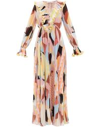 Self-Portrait Ruffled Geo-print Plissé-georgette Maxi Dress - Multicolor