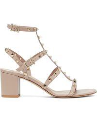 Valentino Garavani - Rockstud Block-heel Leather Sandals - Lyst