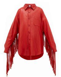 Vetements Fringed Sleeve Leather Shirt Jacket - Red