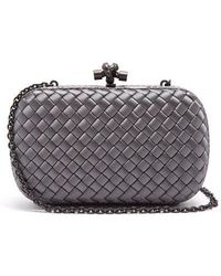 511e4a4f0a MATCHESFASHION.COM · Bottega Veneta - Knot Satin And Water-snake Clutch -  Lyst