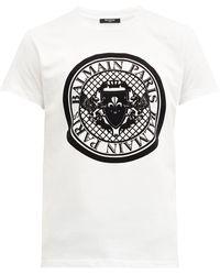 Balmain フロック クレストロゴ コットンtシャツ - ホワイト