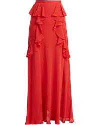 ba96a38ced3f93 Jupe longue drapée avec torsade sur le devant ASOS en coloris Rouge ...
