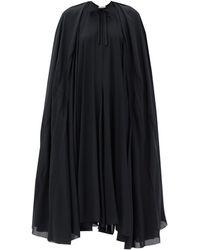 Balenciaga サテンクレープ ケープドレス - ブラック