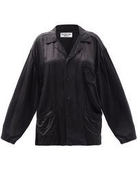 Balenciaga オーバーサイズ サテンシャツ - ブラック