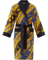 Versace Peignoir en coton à imprimé I Love Baroque - Bleu