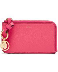 Chloé Chloé アルファベット グレインレザーカードケース - ピンク