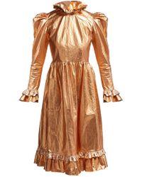 BATSHEVA Ruffled Coated Cotton Prairie Midi Dress - Metallic