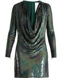 Ashish - Sequin Embellished Draped Front Silk Mini Dress - Lyst