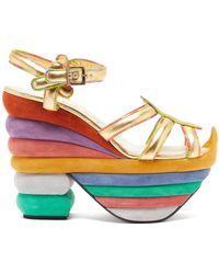 Ferragamo Rainbow 1938 Leather And Suede Platform Sandals - Multicolour