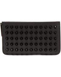 Christian Louboutin Credilou Studded Leather Cardholder - Black