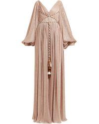 Peter Pilotto Cord-bodice Gathered Metallic-plissé Gown - Pink