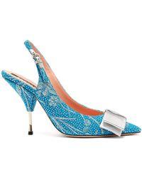 Rochas Bow-embellished Floral-brocade Slingback Pumps - Blue