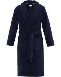 Calvin Klein Peignoir en coton éponge à logo en jacquard - Bleu