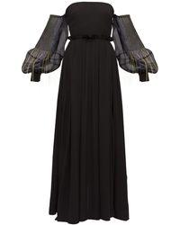 Loewe バルーンスリーブ クレープドレス - ブラック