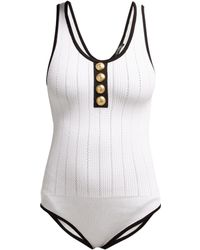 Balmain - Contrast Trim Ribbed Knit Bodysuit - Lyst