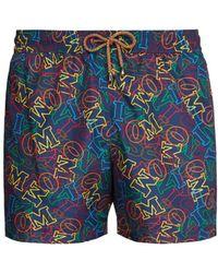 Missoni Logo Print Swim Shorts - Blue