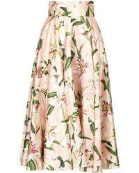 Dolce & Gabbana Lily-print Shantung-silk Midi Skirt - Pink