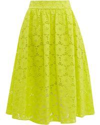 Diane von Furstenberg Tara High Rise Broderie Anglaise Cotton Midi Skirt - Yellow