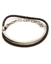 Title Of Work Leather And Sterling Silver Wraparound Bracelet - Black