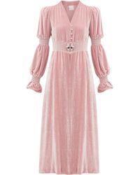 Loretta Caponi グレース クリスタル フロントスリットドレス - ピンク