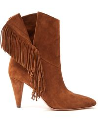 Aquazzura - Apache 85 Fringed Suede Ankle Boots - Lyst