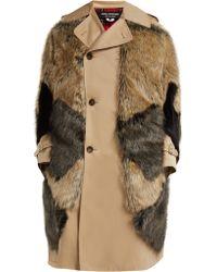 Junya Watanabe - Trench-coat en coton et imitation fourrure - Lyst