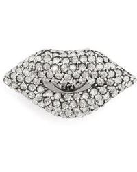 Sonia Rykiel - Lips Crystal-embellished Pin Brooch - Lyst