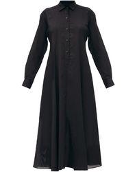 Three Graces London ファロン コットンボイル シャツドレス - ブラック