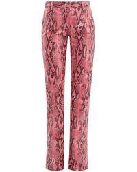 MSGM Python-effect Patent Pants - Pink