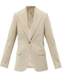 Officine Generale Janelle Single-breasted Cotton-corduroy Jacket - Natural