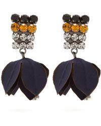 Marni - Crystal Embellished Flower Drop Clip On Earrings - Lyst